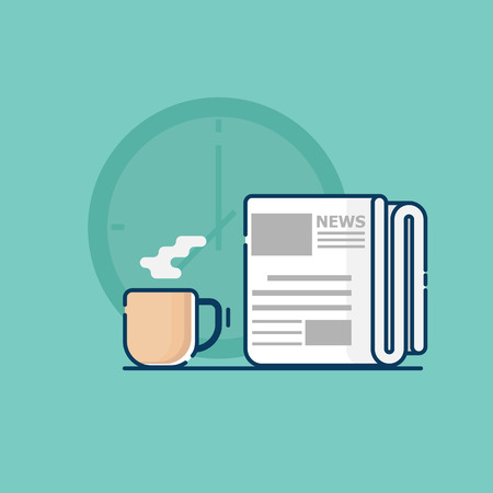 illustration of newspaper with coffee cup in morning vector flat design