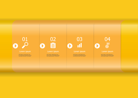 illustration of abstract yellow horizontal bar infographics element vector background for business timeline