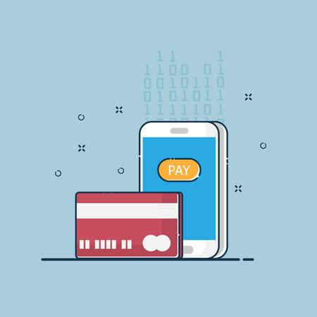 illustration of digital online payment vector flat design Illustration
