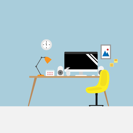 illustration of workplace with office supplies vector flat design