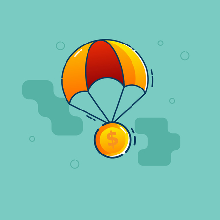 illustration of dollar coin fly with parachute vector flat design