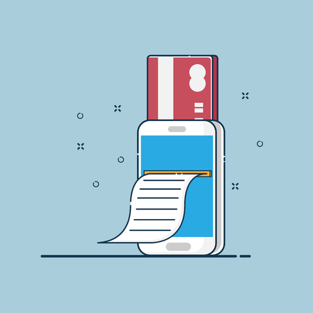 illustration of online payment and print bill from smartphone vector flat design Illustration