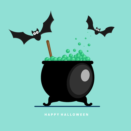 illustration of happy halloween bat with potion boiling vector