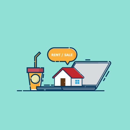 illustration of online real estate concept house on laptop vector flat design Illustration