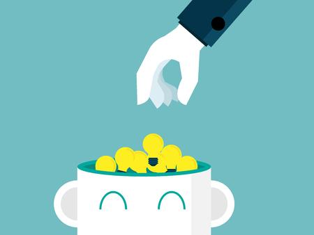 illustration of hand picking bulb idea from head vector flat design