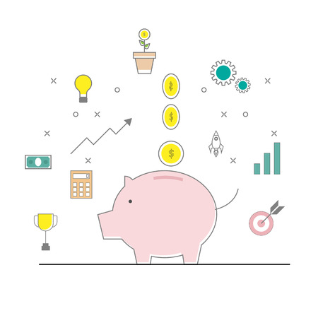 illustration of piggy bank and money coins with business finance icon vector flat line design Illustration
