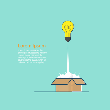 illustration of think outside the box concept bulb idea launch from box vector flat design