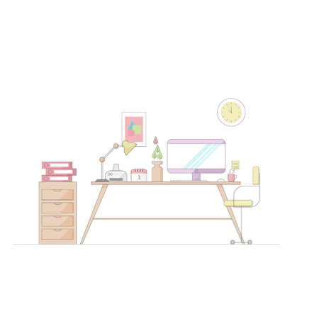 illustration of work place vector flat thin line design