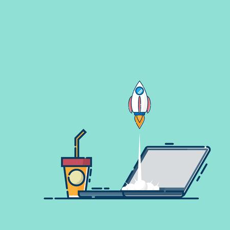 illustration of business startup concept rocket launch from laptop vector flat design Illustration