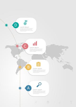 illustration of vertical infographics 4 steps for business presentation vector flat background