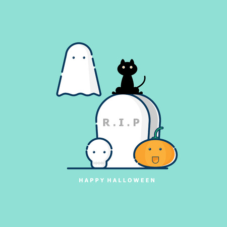 illustration of happy halloween vector flat design Illustration