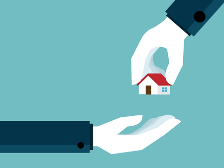 illustration of real estate concept hand giving house to hand vector flat design Illustration