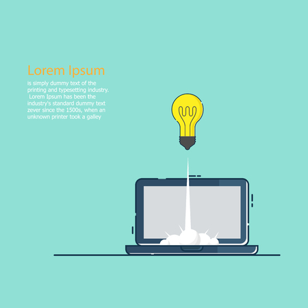illustration of business startup concept bulb idea launch from laptop vector flat design