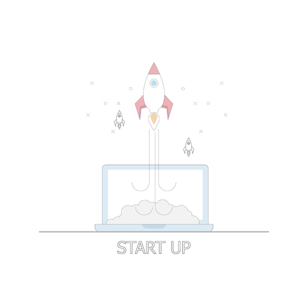 illustration of business startup concept rocket launch from laptop vector flat thin line design