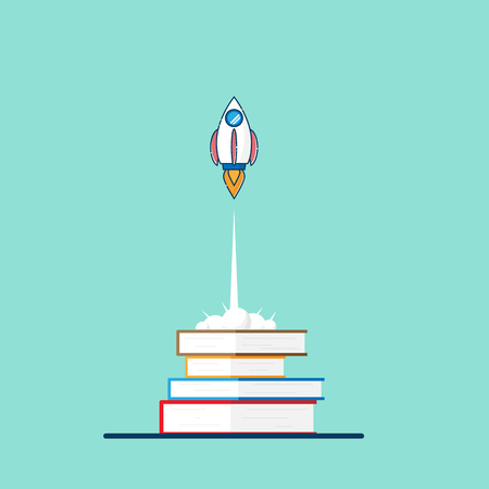 illustration of education startup concept rocket launch from book vector flat design