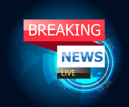 illustration of breaking news with world map and technology background