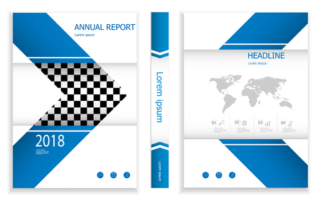 illustration of modern deep blue business brochure design template cover book portfolio presentation poster. in A4 layout. flyers report vector background