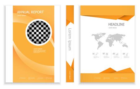 illustration of modern orange business brochure design template  cover book portfolio presentation poster. in A4 layout. flyers report vector background