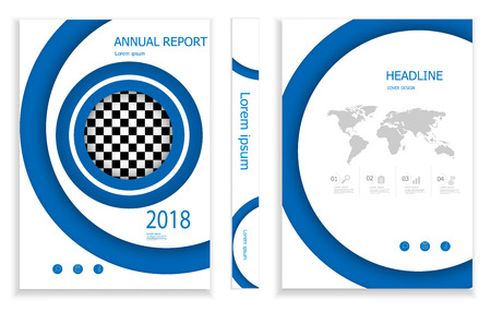 illustration of modern blue circle business brochure design template  cover book portfolio presentation poster. in A4 layout. flyers report vector background