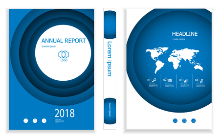 illustration of modern deep blue circle business brochure design template  cover book portfolio presentation poster. in A4 layout. flyers report vector background