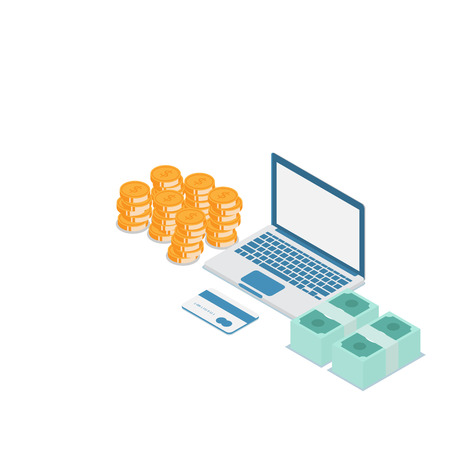 illustration of online money concept, stack of money and credit card with laptop vector isometric Illustration
