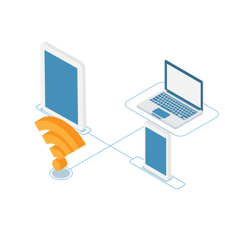 illustration of cyber connection technology wifi with devices vector isometric