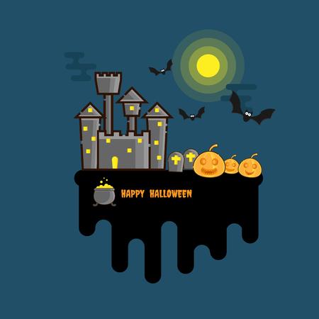 illustration of happy halloween background flat design