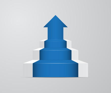 illustration of ladder with growth up arrow vector background