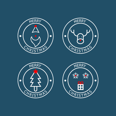 illustration of merry christmas badge vector flat design