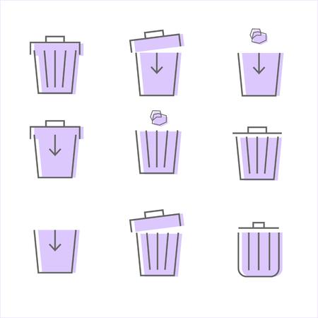 set of purple trash icon on white background vector illustration