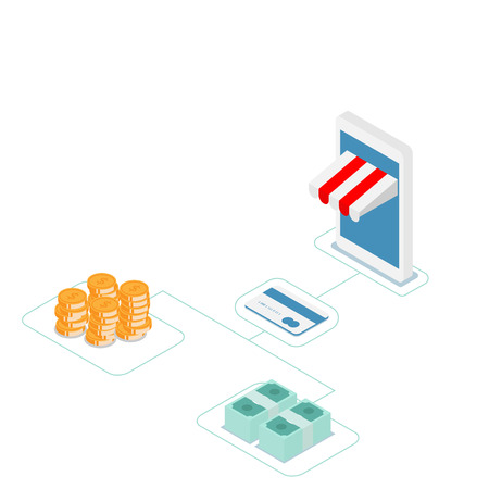 illustration of online shopping with credit card vector isometric