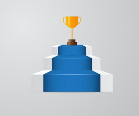 illustration of golden trophy on ladder of success vector background Illustration