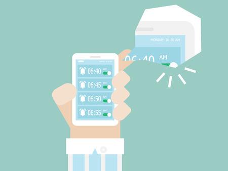 illustration of alarm clock ringing on smartphone in monday morning vector cartoon