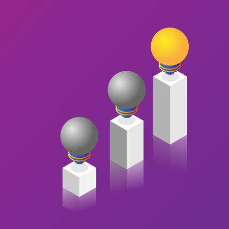 illustration pillars of light bulb idea vector isometric