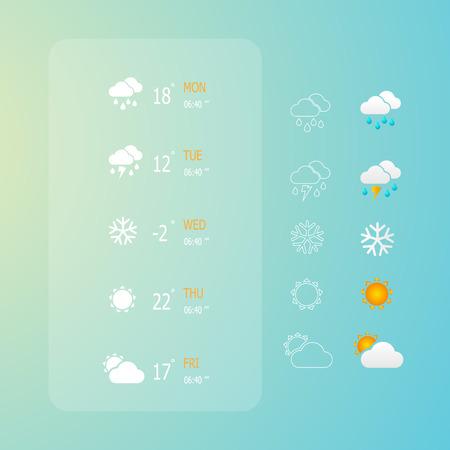 vector illustration of weather web icons set Illustration
