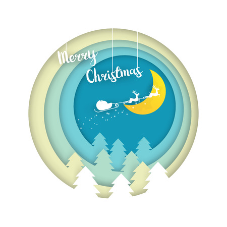 illustration of merry christmas paper cut art layers style vector background