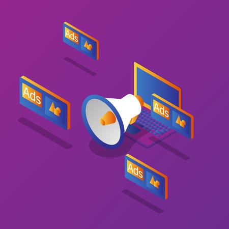 illustration of online marketing laptop advertising with megaphone vector isometric Illustration