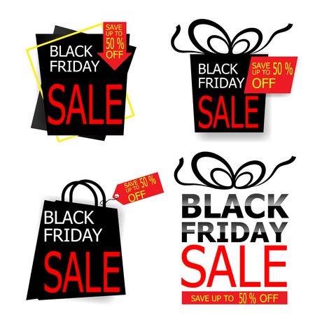 illustration of black friday sale price tag and label vector set