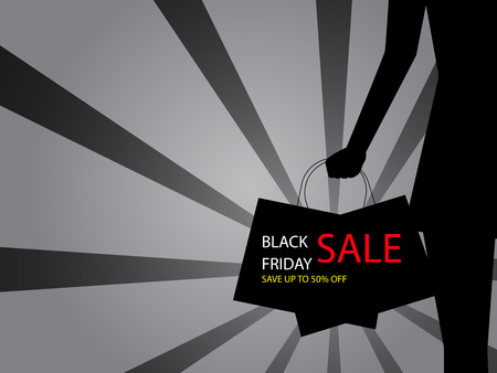 illustration of black friday sale sillhouette woman with shopping bag vector background Stock Vector - 127527583