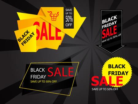 illustration set of black friday sale price tag, label vector background