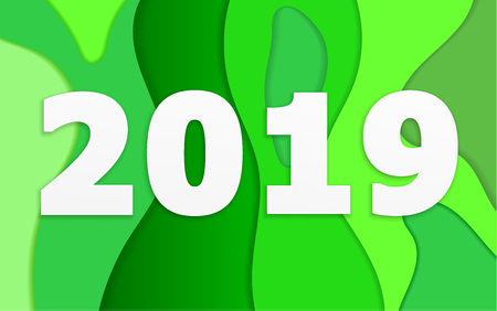 abstract 2019 with green layers background vector illustration