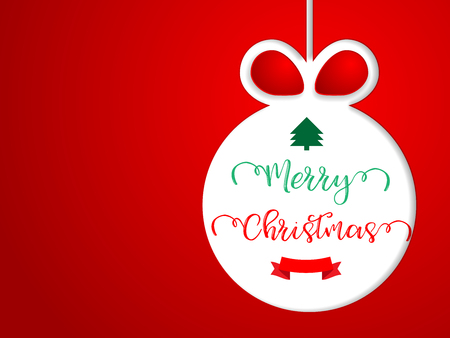 illustration of merry christmas with red background