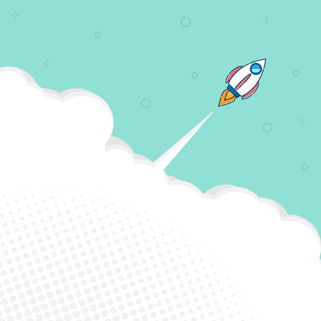 illustration of rocket launch with space flat design vector background