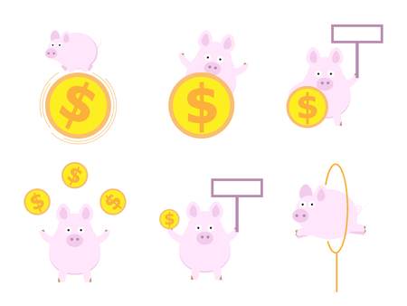 set of cute pig with money coin flat design vector illustration Stock Vector - 126316025