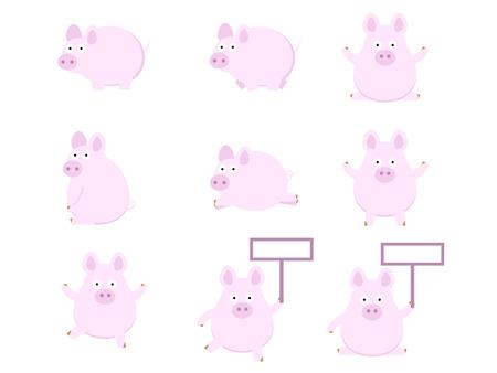 set of cute pig flat design vector illustration Illustration