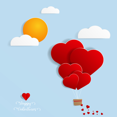 abstract balloon with heart shape flying in sky papercut style vector illustration