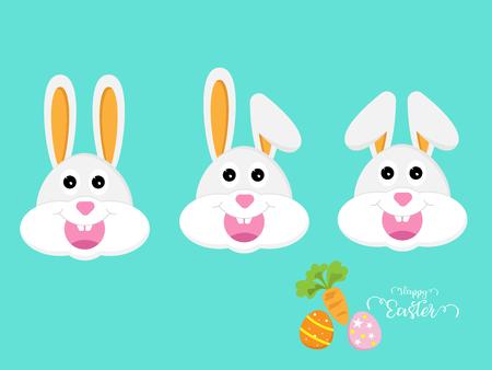 illustration of cute rabbit or bunny head happy easter vector cartoon background Stock Vector - 125890686
