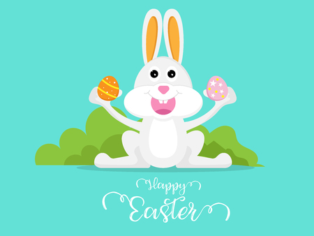 cute rabbit with easter egg happy easter day vector illustration cartoon background