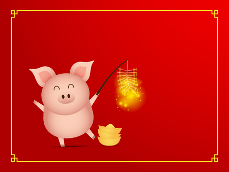 illustration of cute pig with firecracker on red background cartoon vector