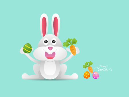 illustration of rabbit or bunny with easter egg and carrot cartoon vector background Illustration